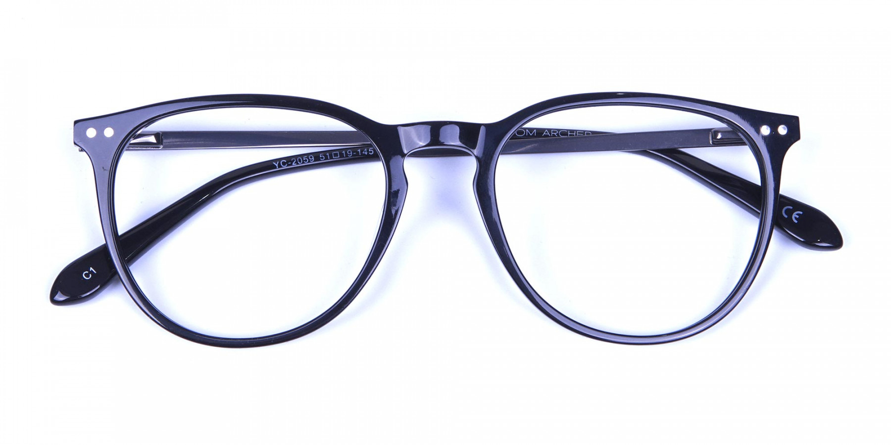 Glossy Black Round Glasses with Slim Arms