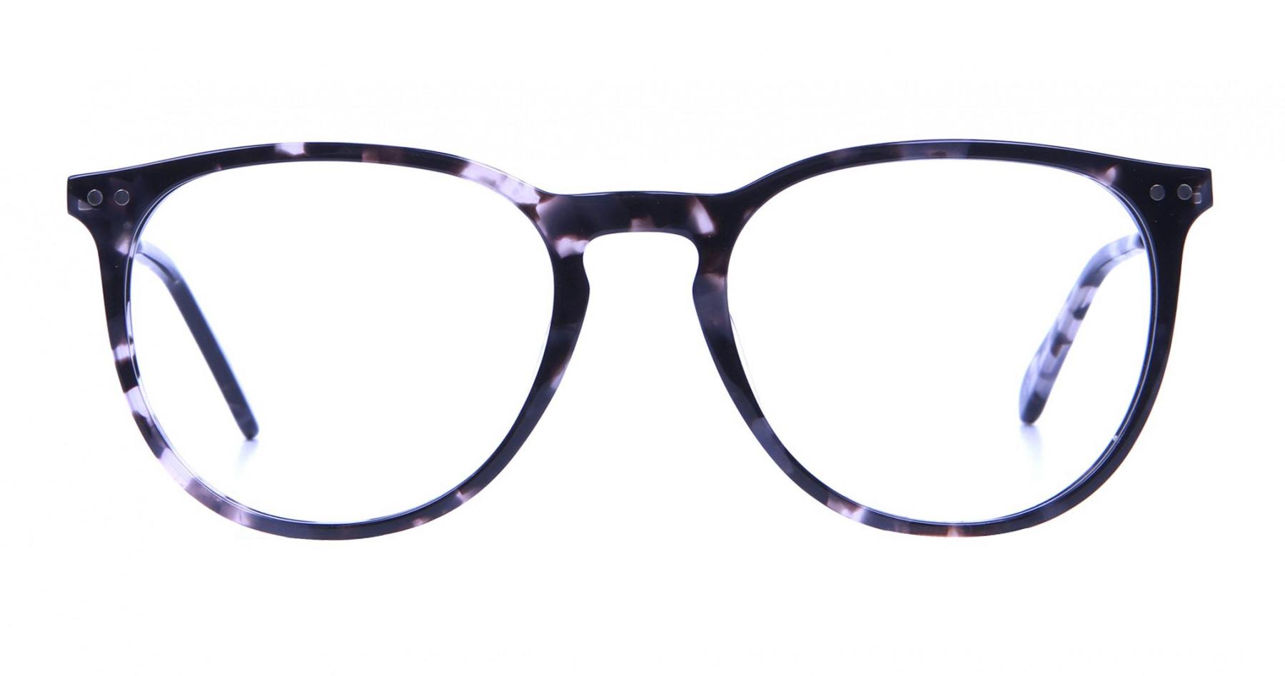 Black and Grey Round Tortoiseshell Eyeglasses