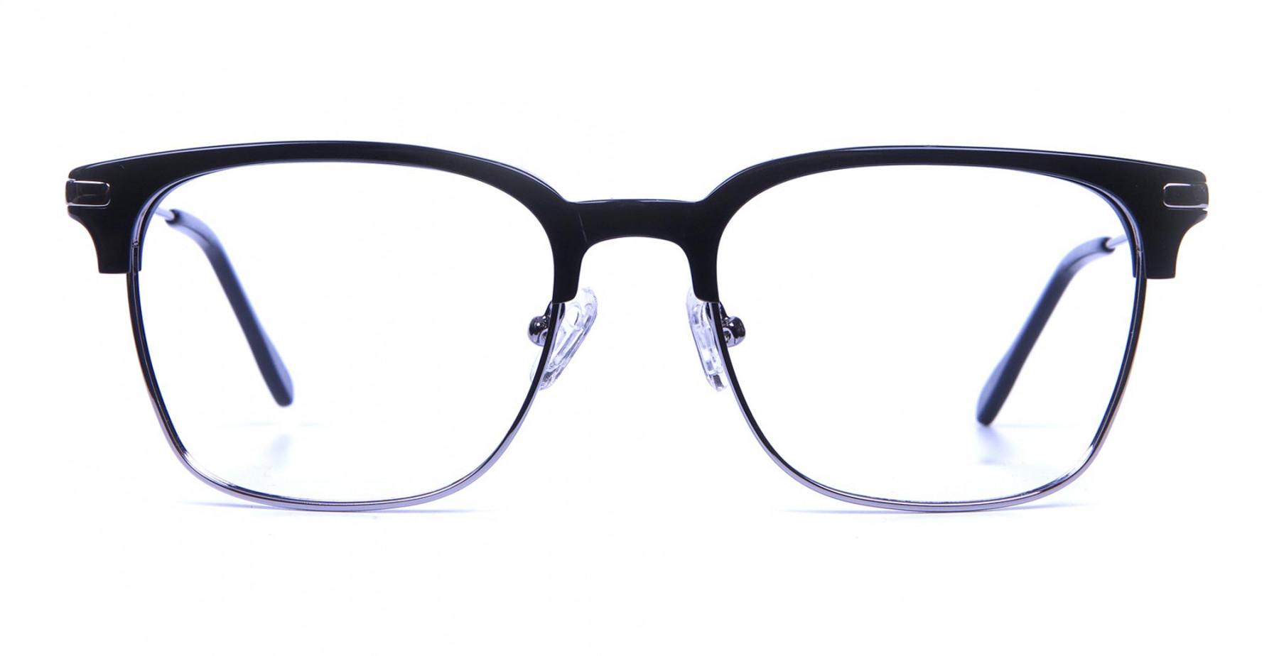 Black and Silver Browline Glasses