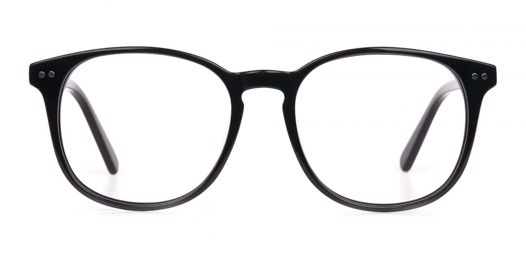 Black Acetate Wayfarer Eyeglasses Unisex-1