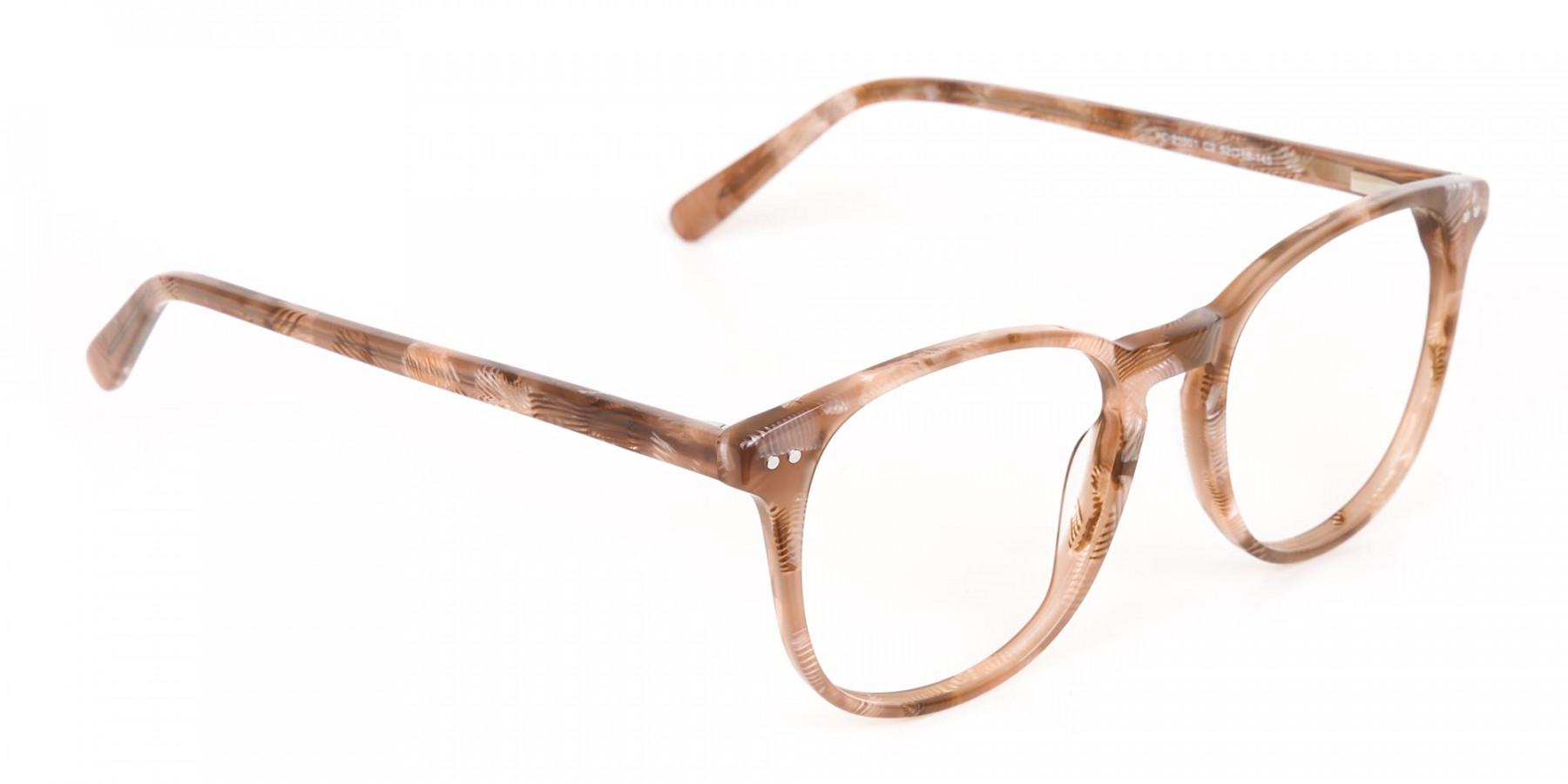 Brown Dark Beige & Stripes Wayfarer glasses-1