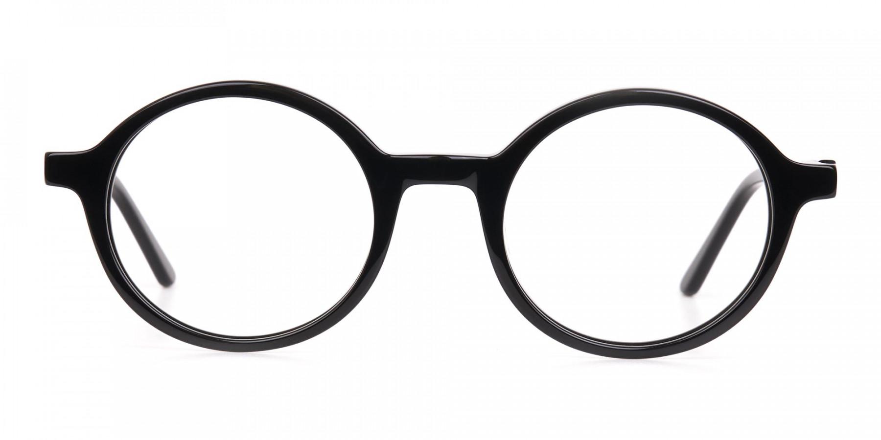 Black Round Acetate Eyeglasses Frame Unisex-1