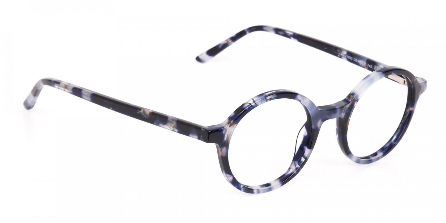 Navy Blue Tortoise Round Acetate glasses Unisex-1