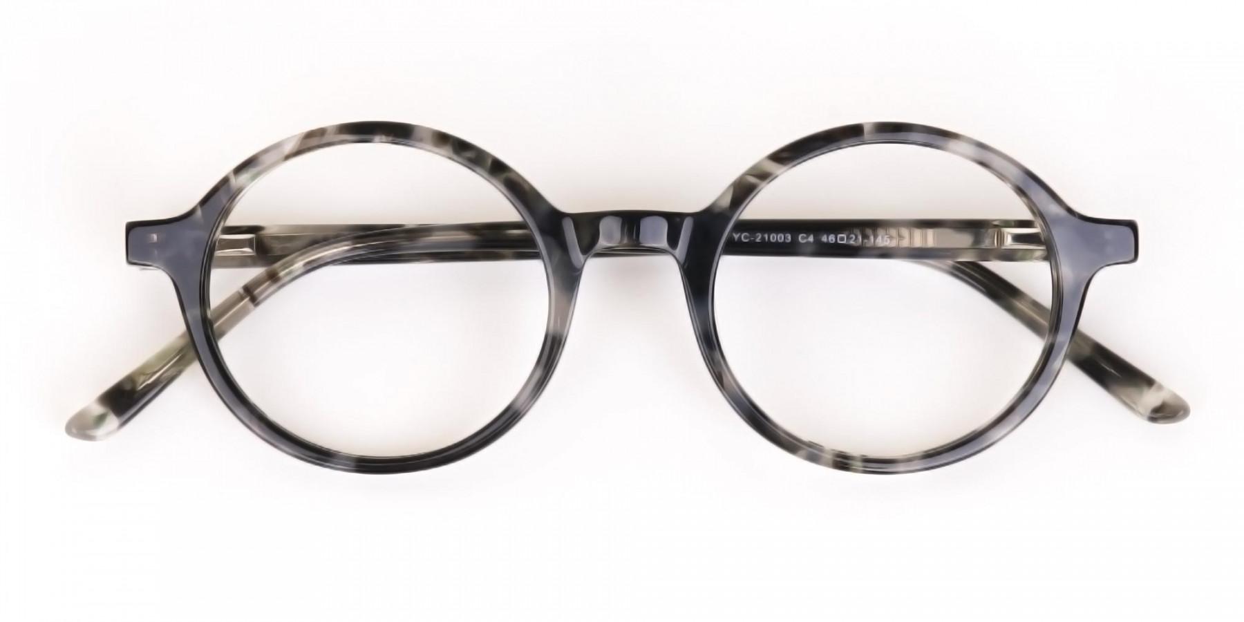 Marble Grey Acetate Round Eyeglasses Unisex-1