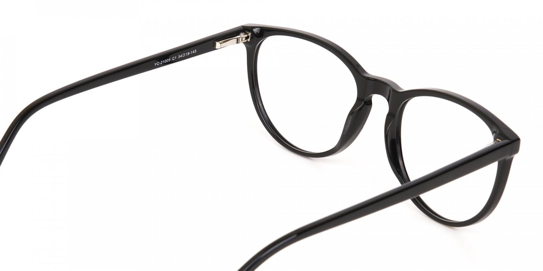 Black Acetate Round Eyeglasses Frame Unisex-1