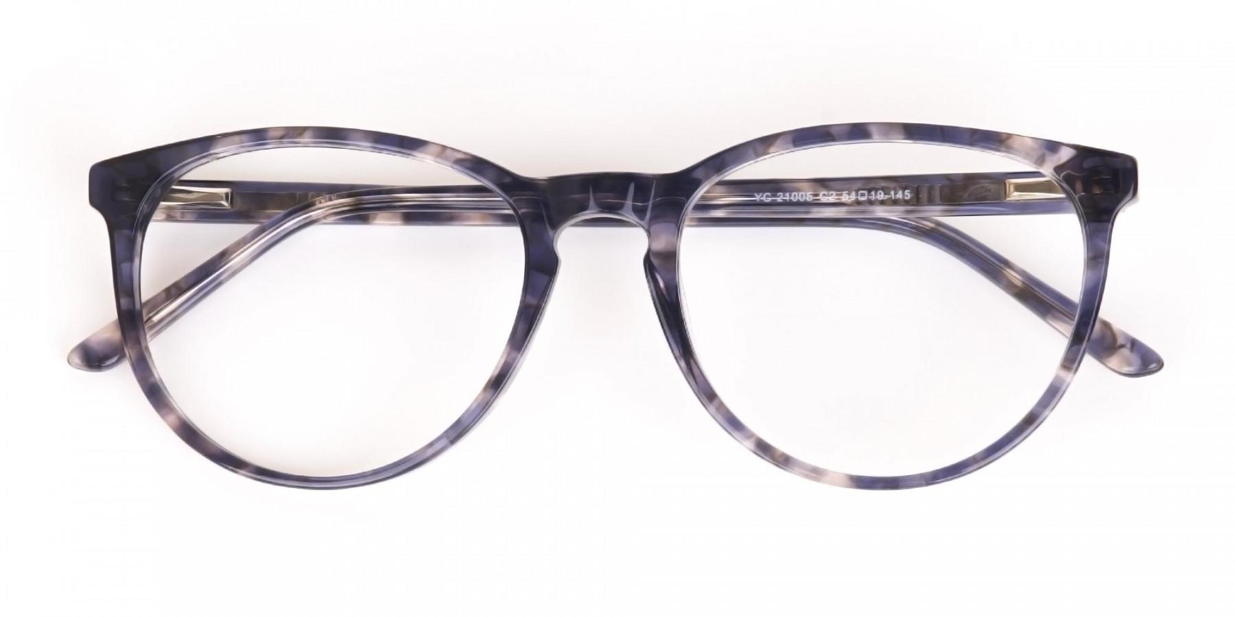 Dusty Blue Tortoise Acetate Round Glasses Frame-1