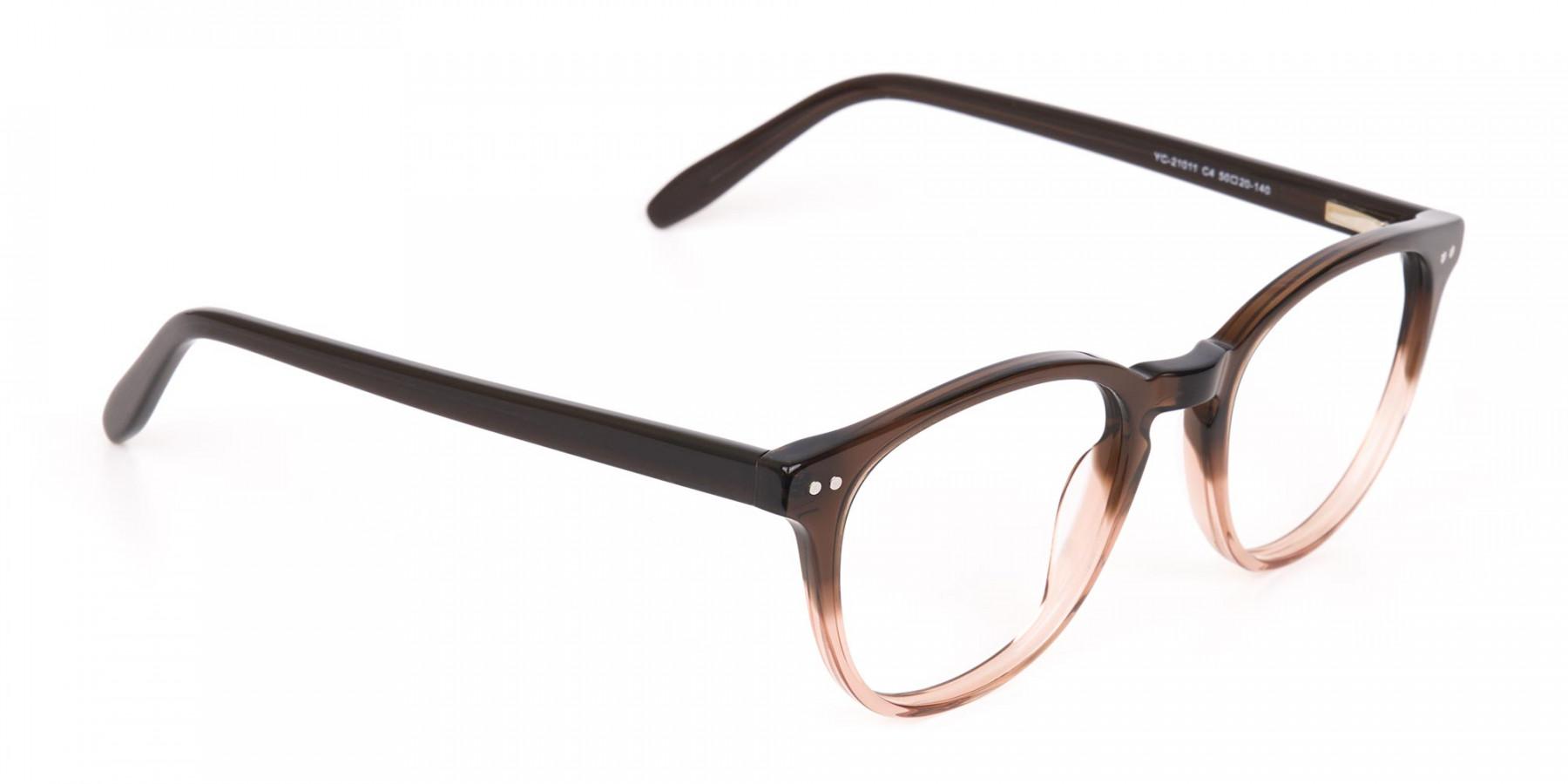 Mocha Brown & Crystal Beige Two-Tone Glasses-1