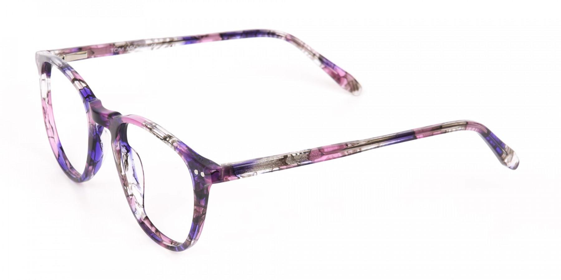 Purple & Rose Pink Tortoise Wayfarer Glasses-1