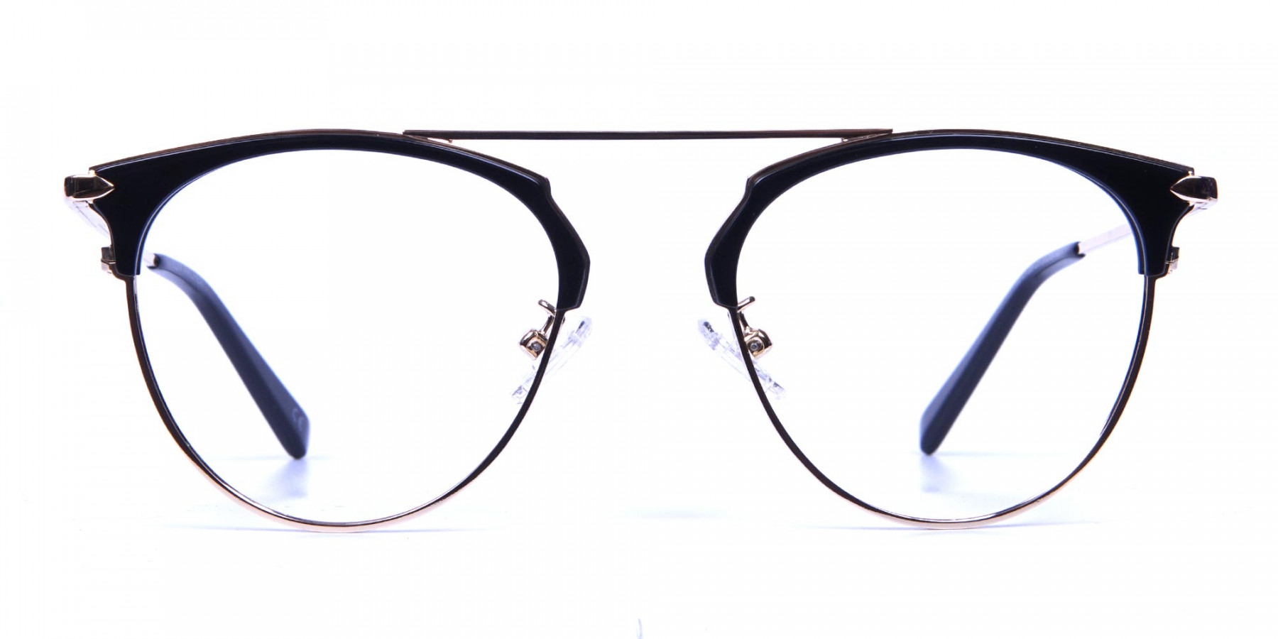 Black and Gold No-Nose Bridged Glasses