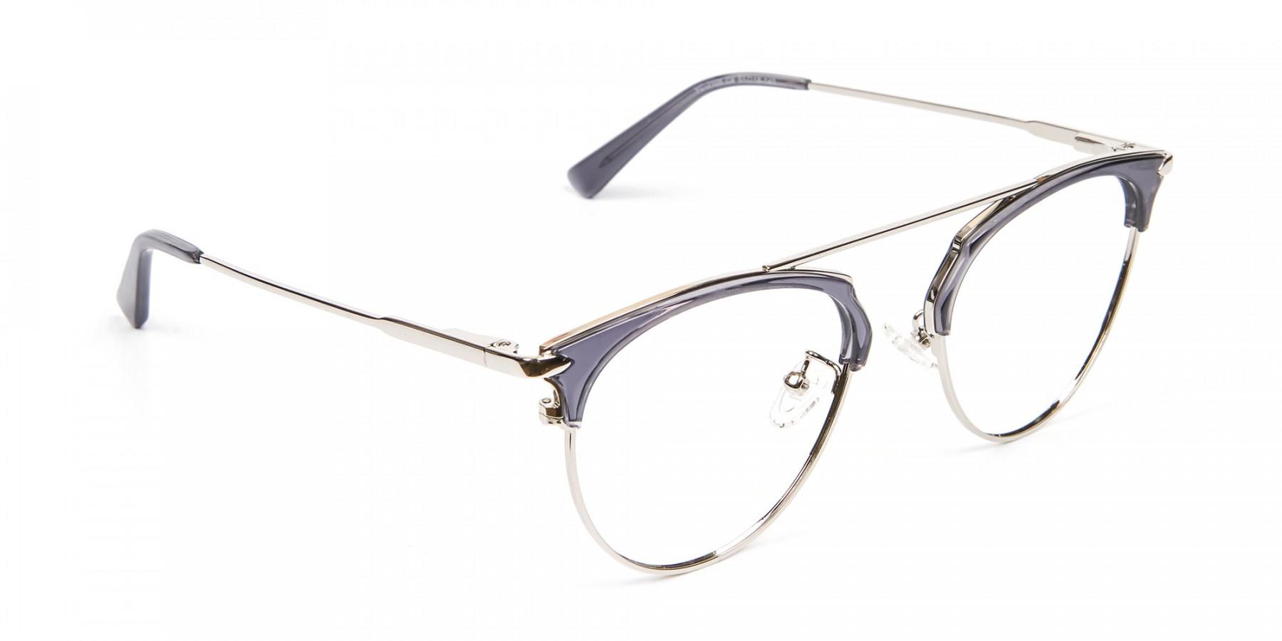 Translucent Browline Spring Hinge Glasses - 1
