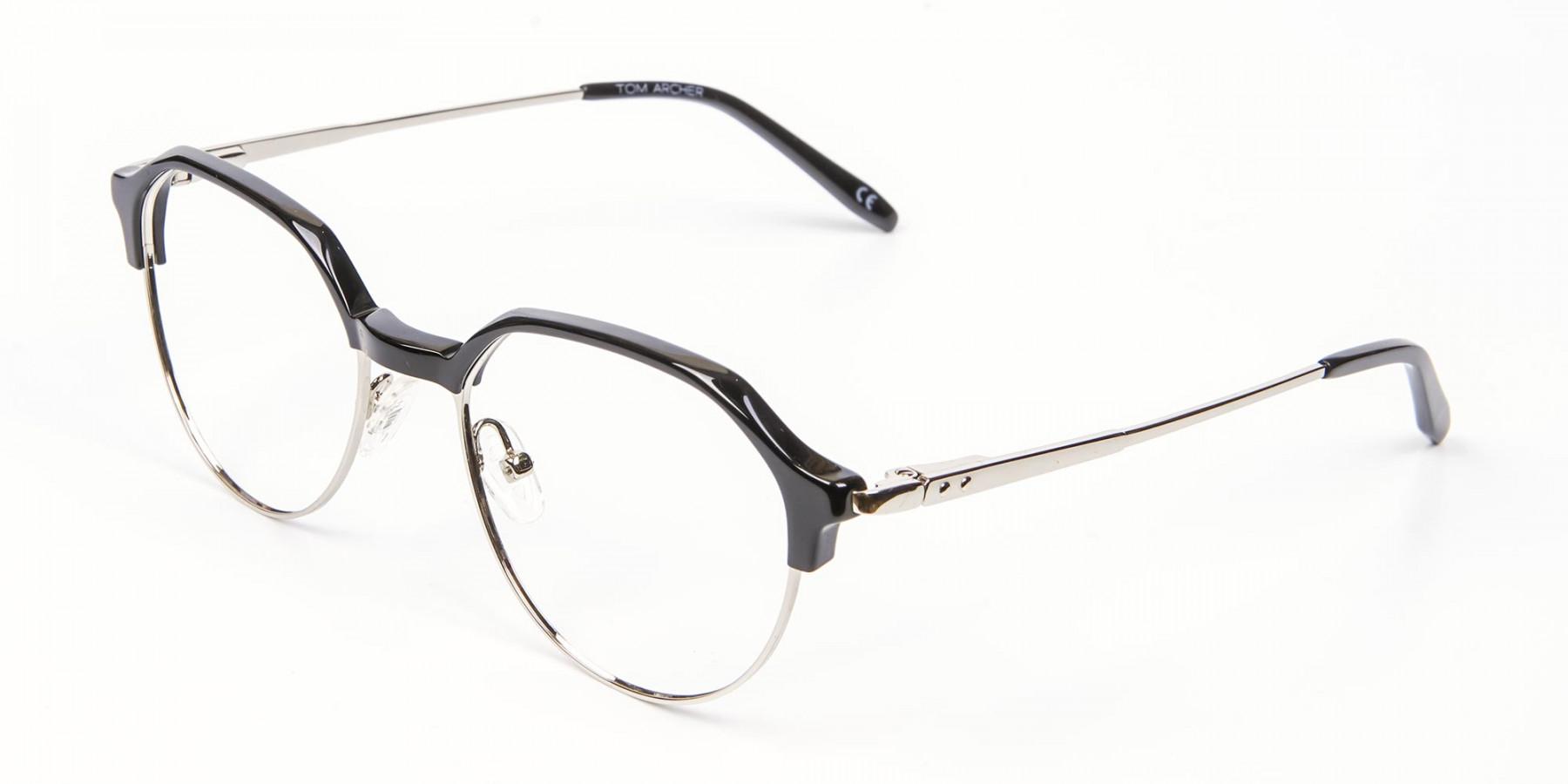 Unusual Shaped Glasses Black & Silver  - 1