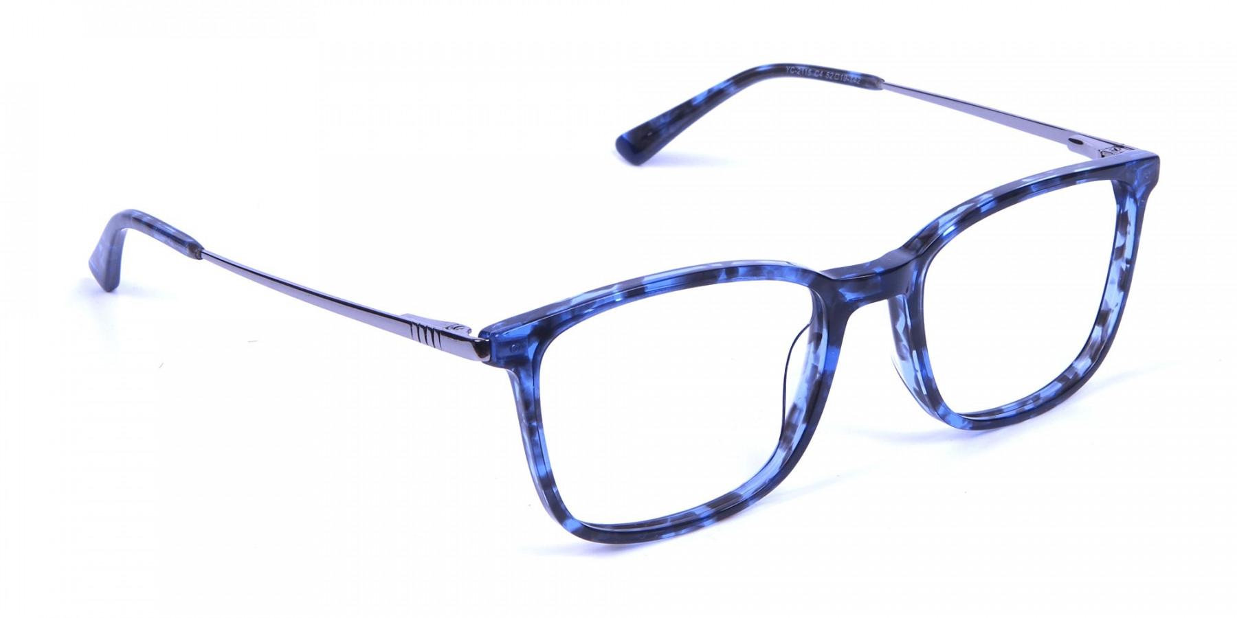 Men Women Rectangular Frame Blue Tortoise-1