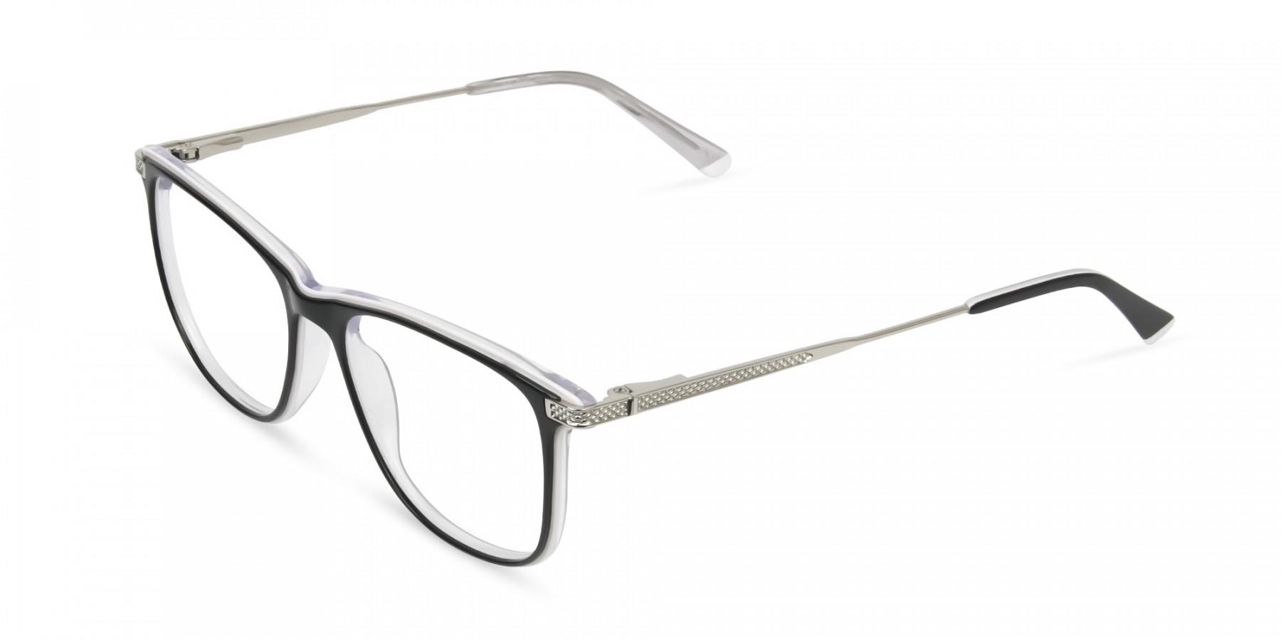 Black-and-White-Rectangular-Wayfarer-Glasses - 1