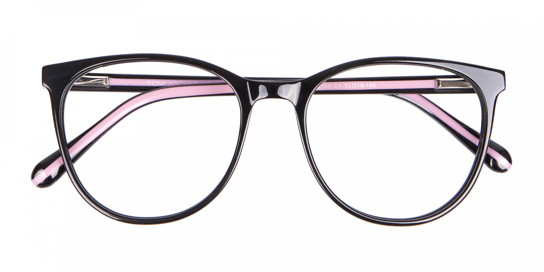 Retro Round Glasses in Black & Pink with Stripes - 1