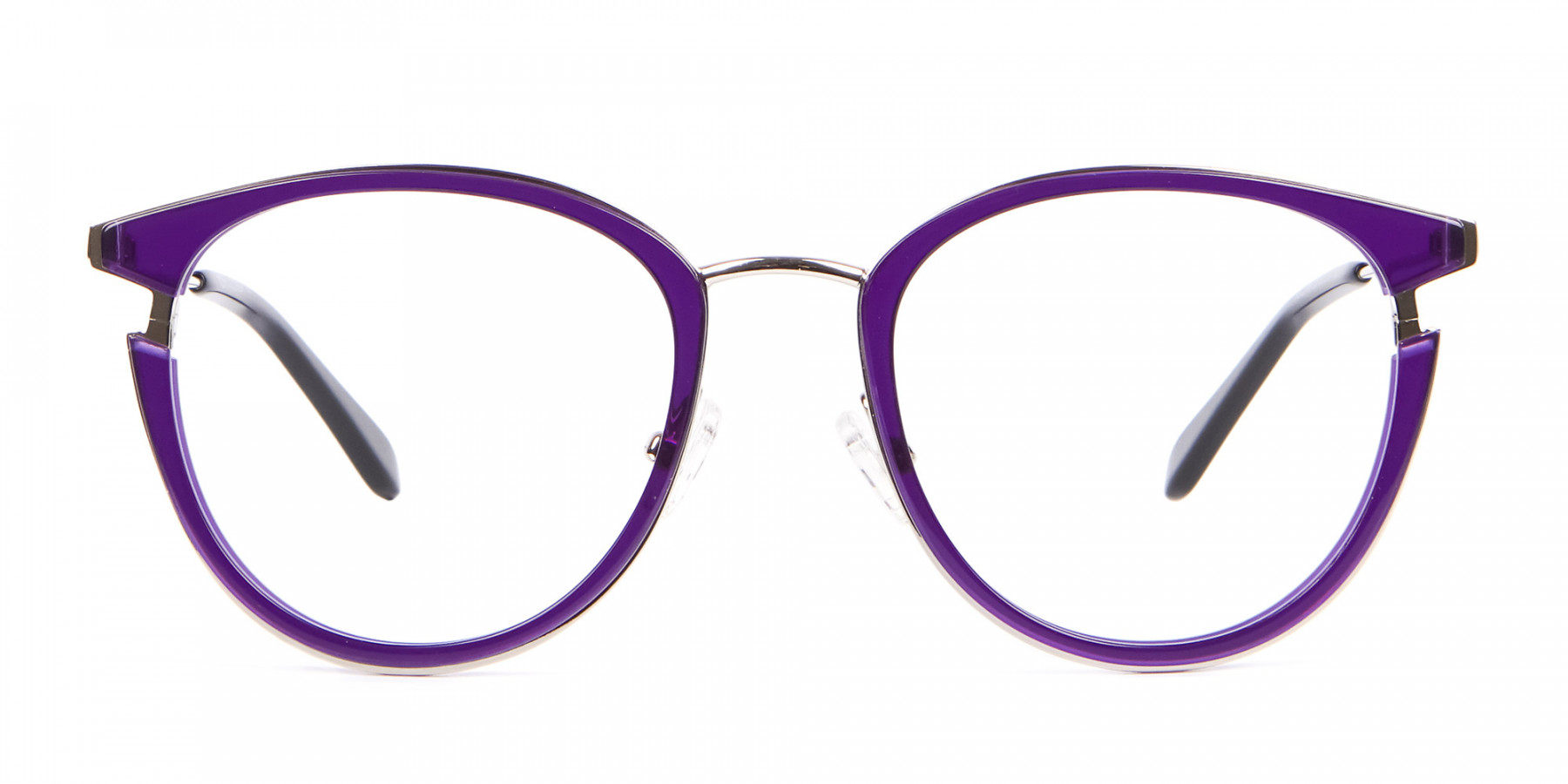 Violet Purple Retro Round Frame-1