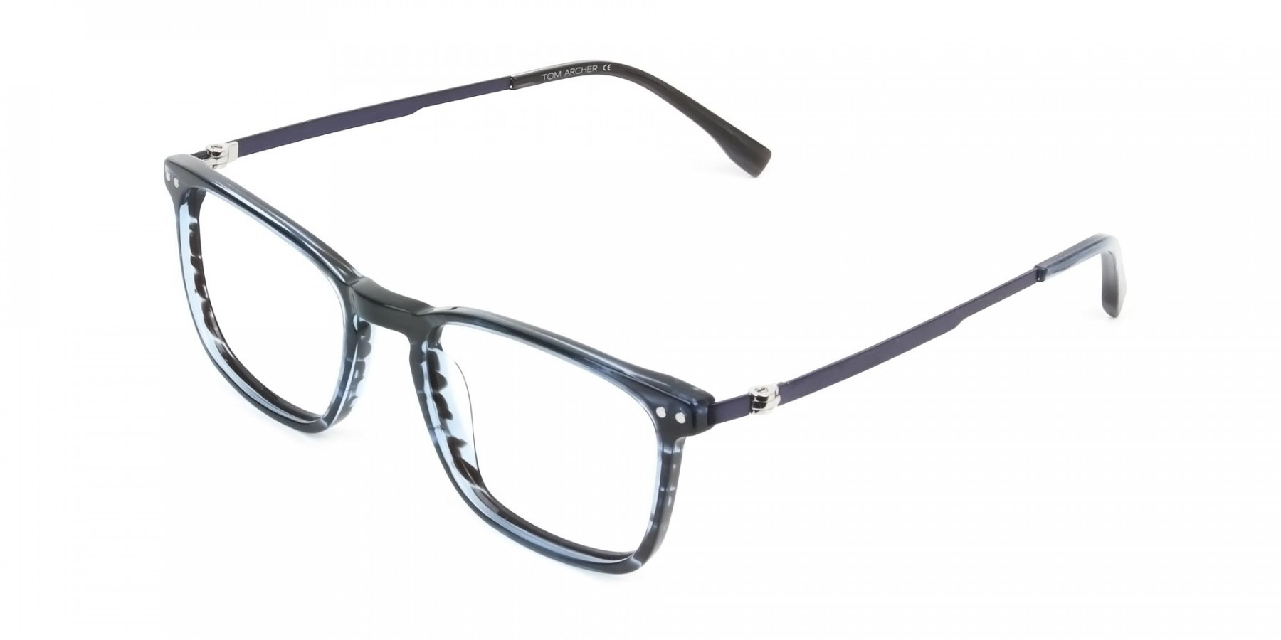 Rectangular Striped Ocean Blue Stripe Ocean Blue Glasses - 1