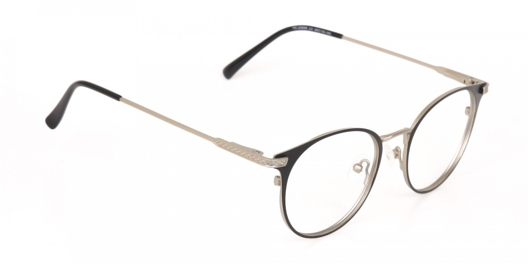 Matte Black and Silver Round Glasses Unisex -1