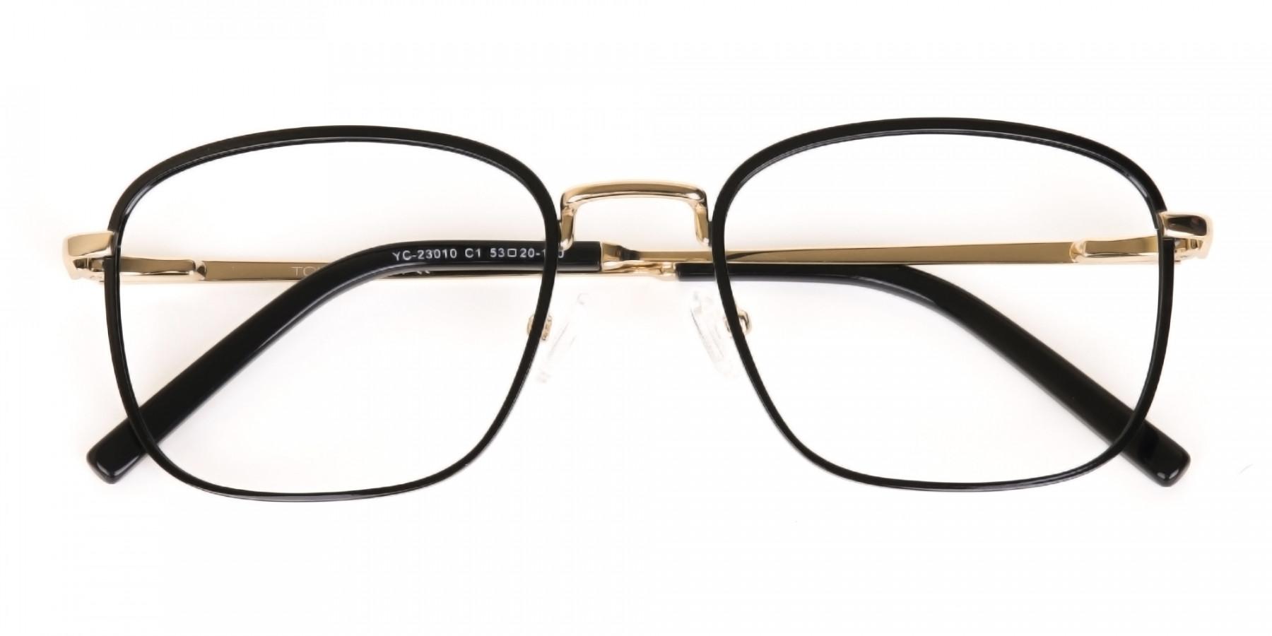 Black Gold Wayfarer Metal Glasses Frame Unisex-1