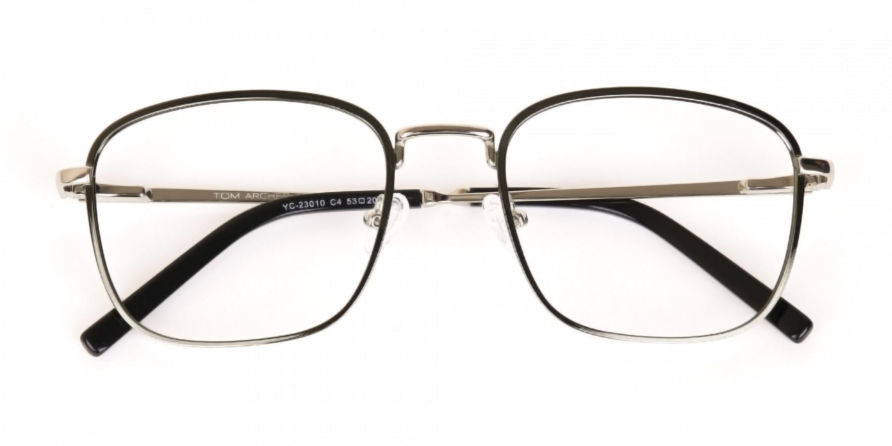 Silver Green Metal Wayfarer Glasses Frame Unisex-1