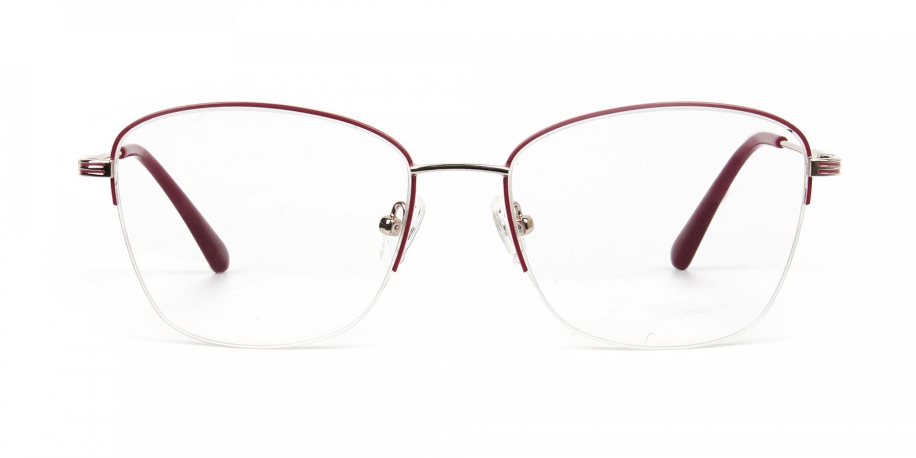 Red & Gold Half Frame Cat Eye Glasses For Women - 1