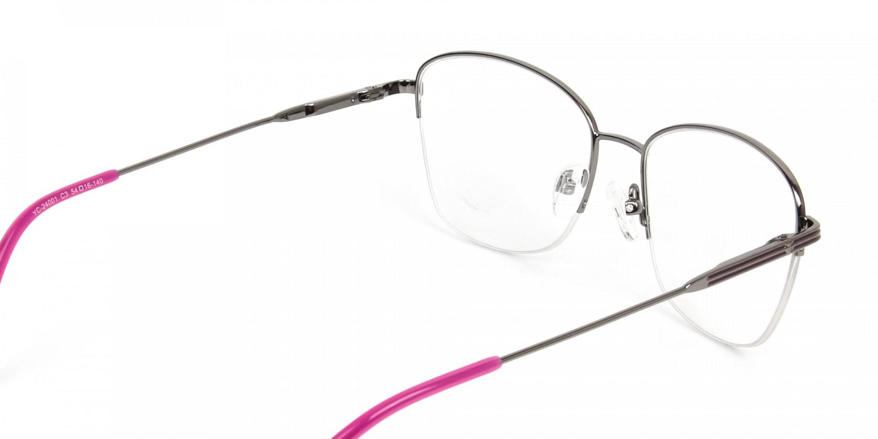 Purple Burgundy Gunmetal Half Cat Eye Glasses - 1