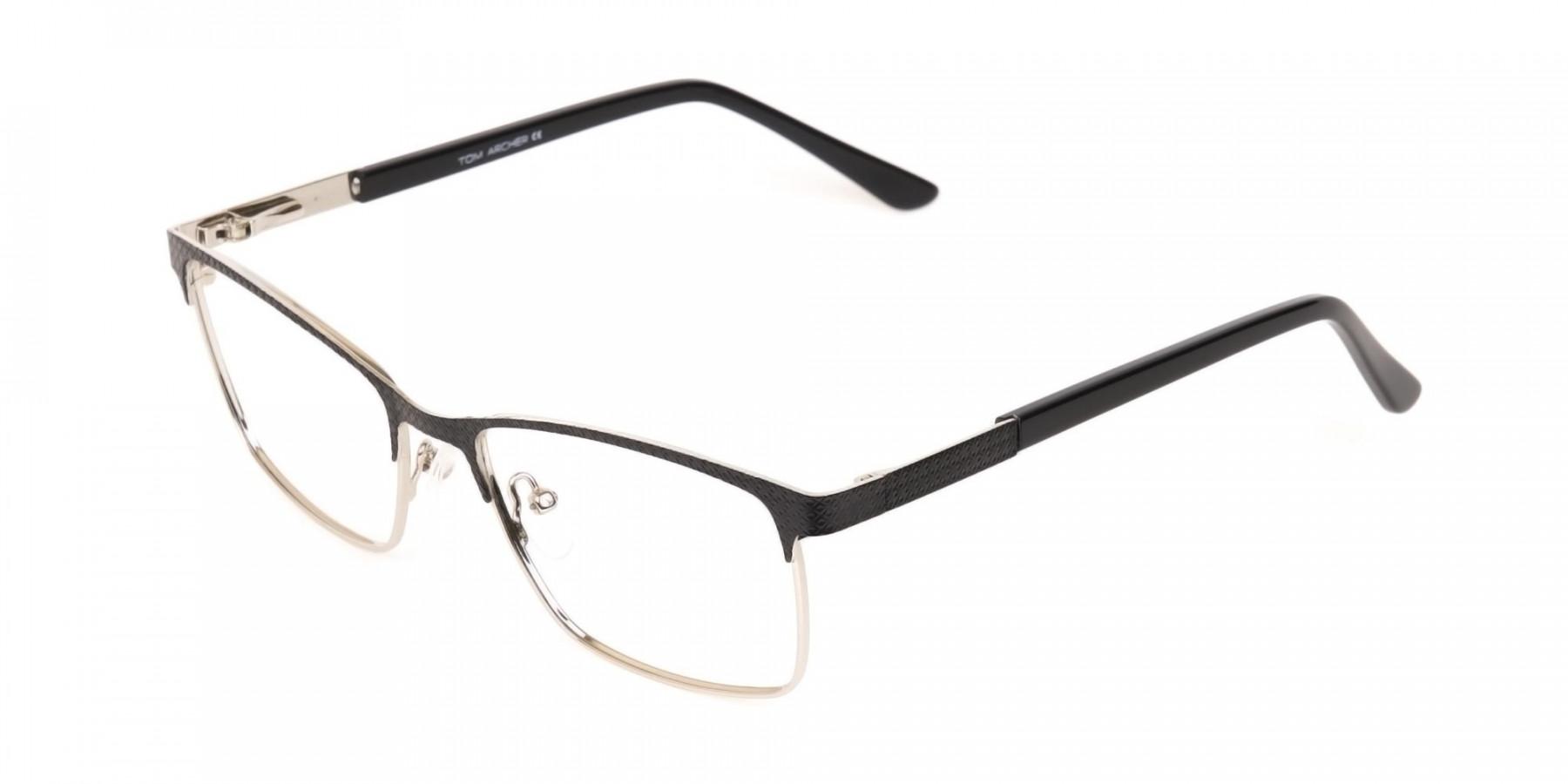 Black Silver Metal Rectangular Glasses Frame-1