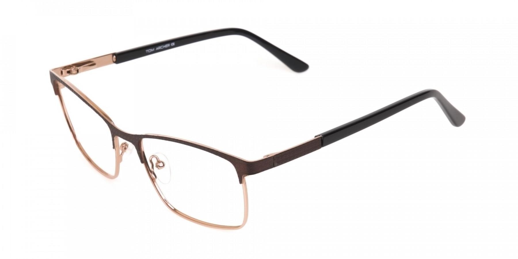 Bronze Brown, Black & Gold Rectangular Glasses-1