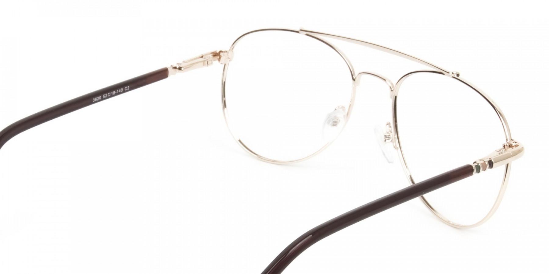 Aviator Dark Brown Gold Fine Metal Glasses - 1