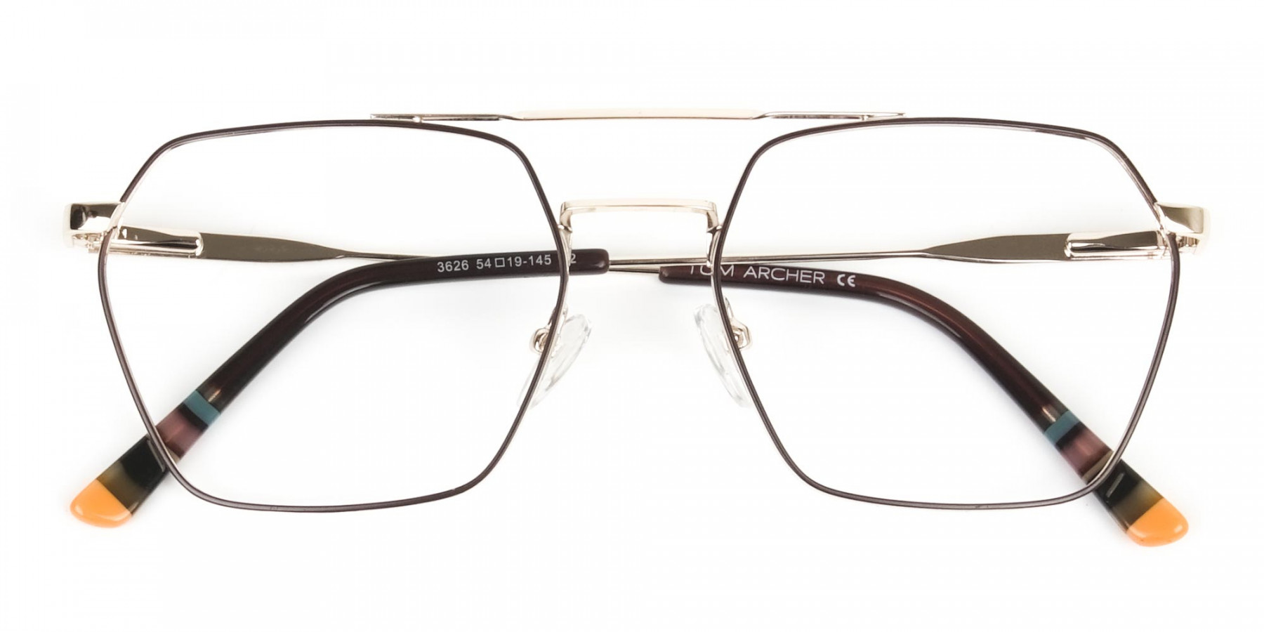 Hipster Geometric Gold & Brown Thin Metal Frame Glasses  - 1