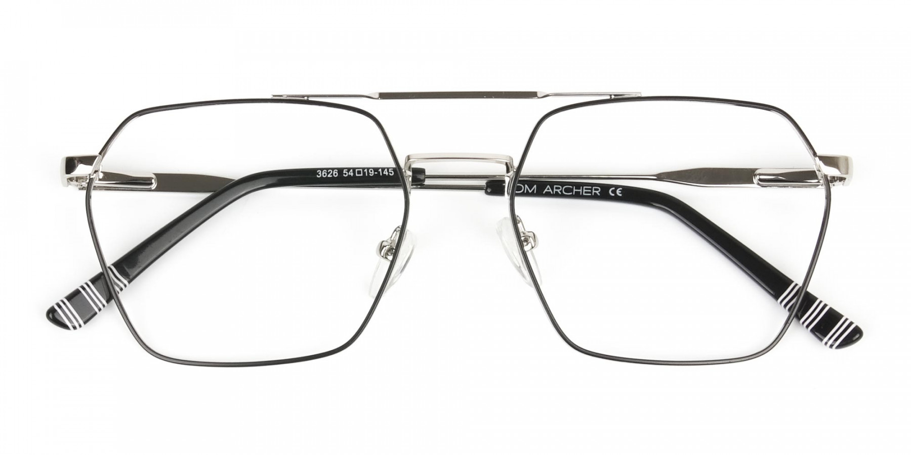 Black & Silver Thin Metal Glasses in Hipster Geometric Frame - 1