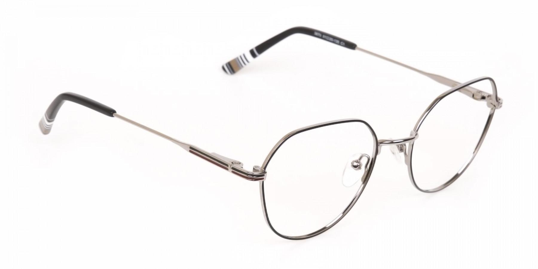 Black & Silver Wayfarer Metal Glasses in Full-Rim-1
