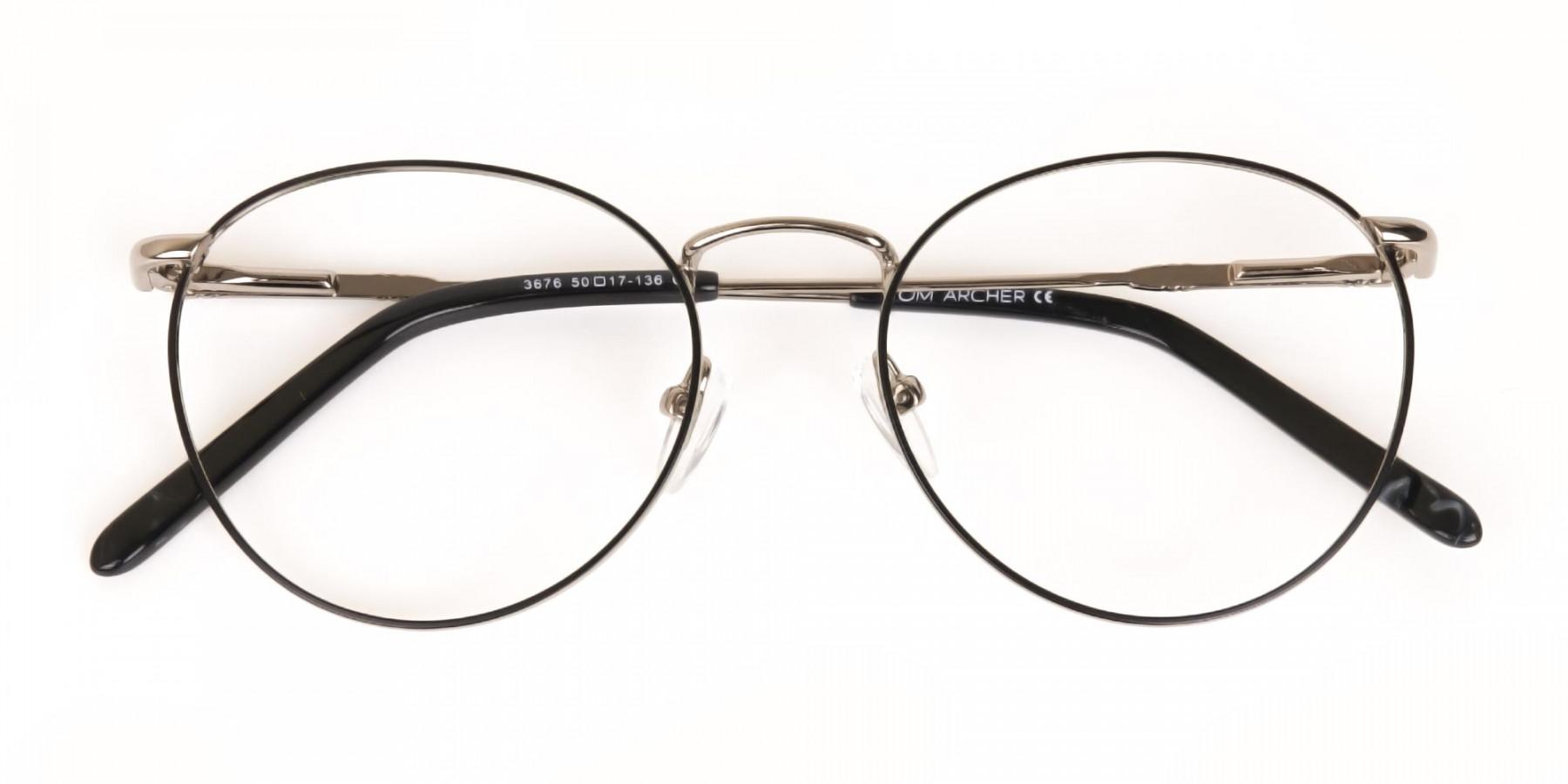 Black & Silver Round Metal Glasses Unisex-1