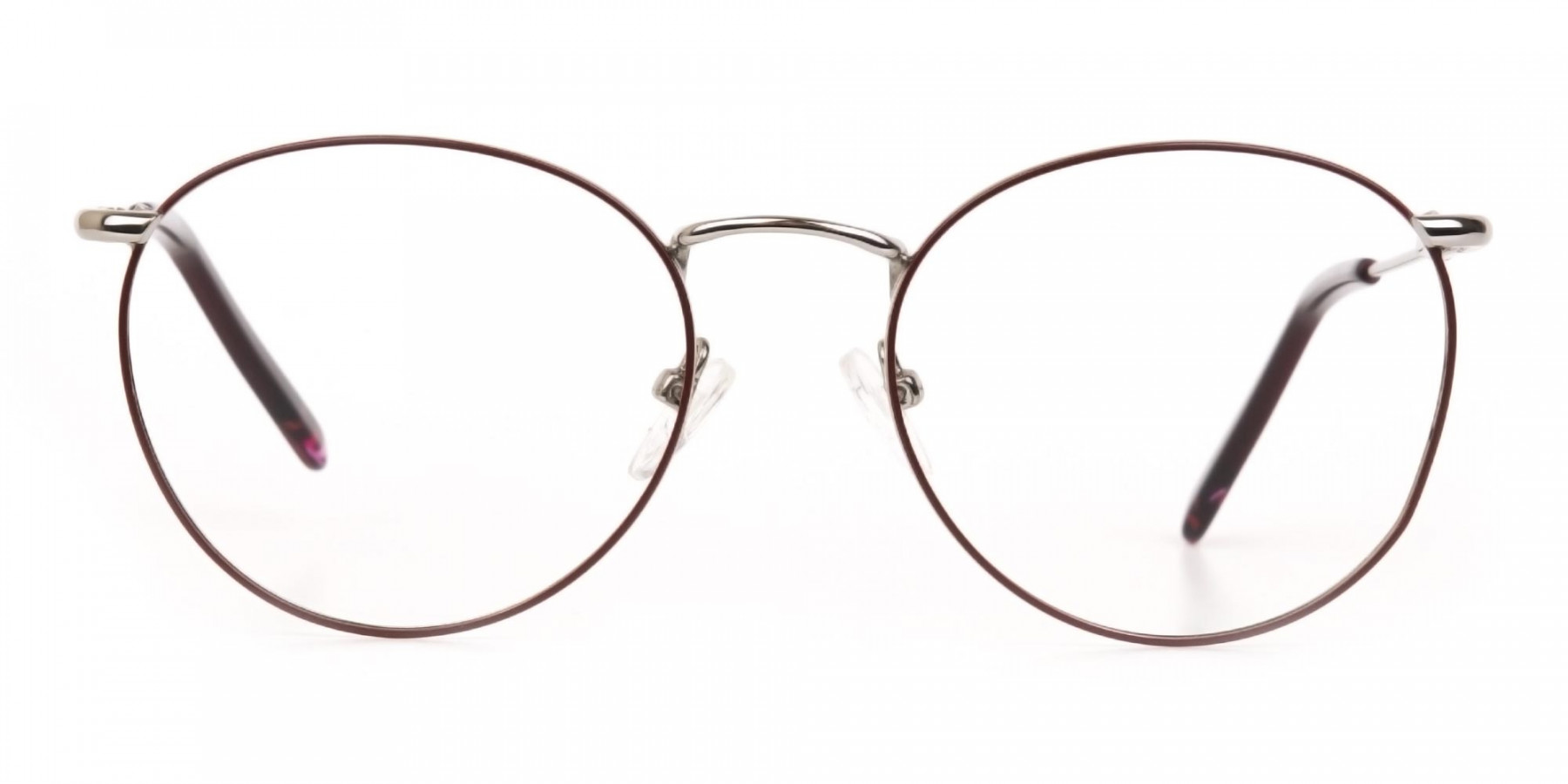 Red, Burgundy & Silver Metal Round Glasses-1