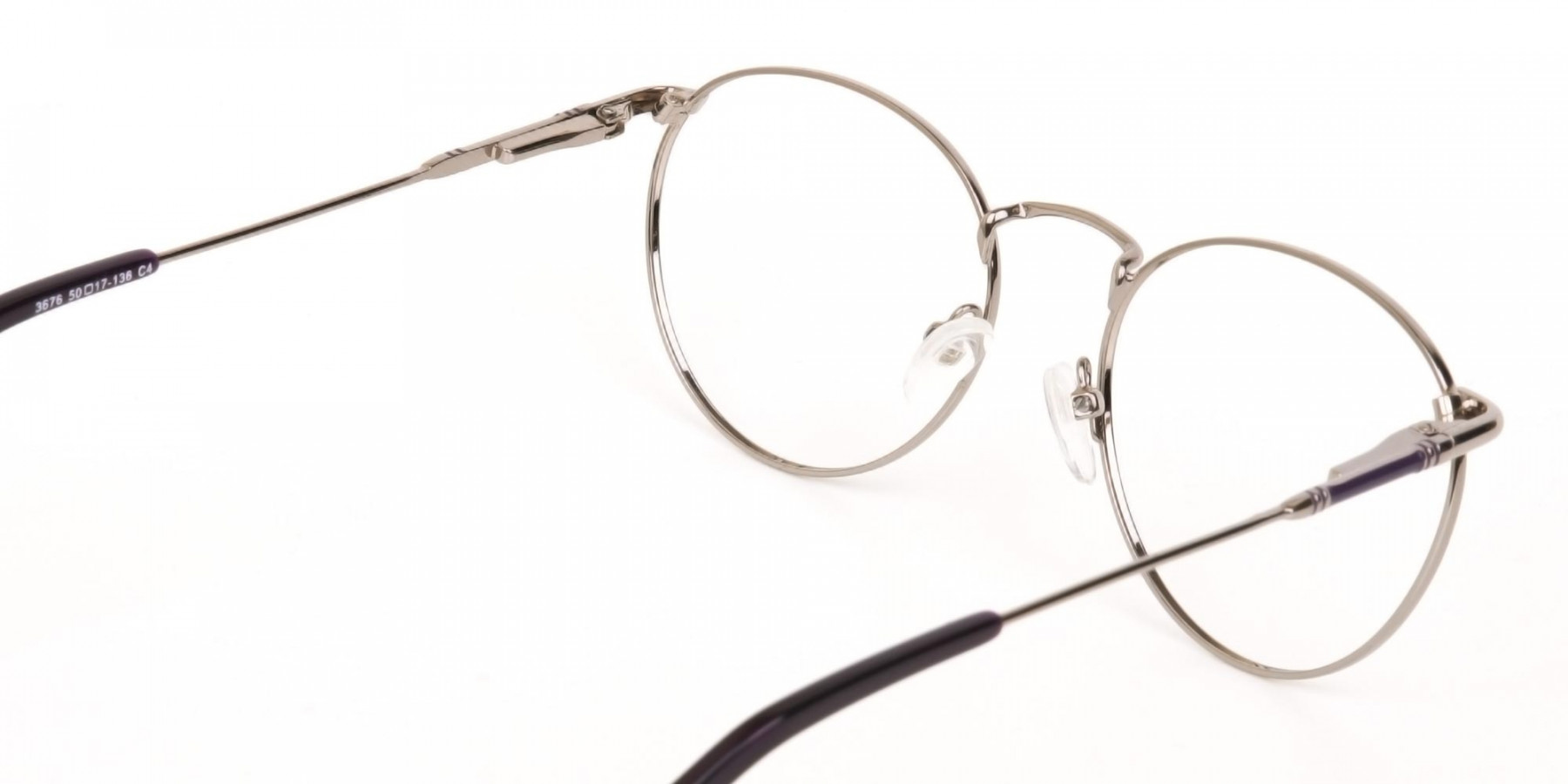 Raisin Purple & Silver Round Glasses in Metal -1