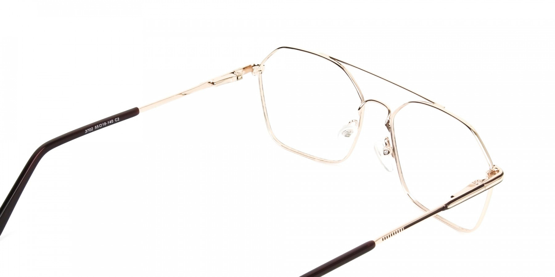 Geometric Aviator Brown & Gold Spectacles - 1