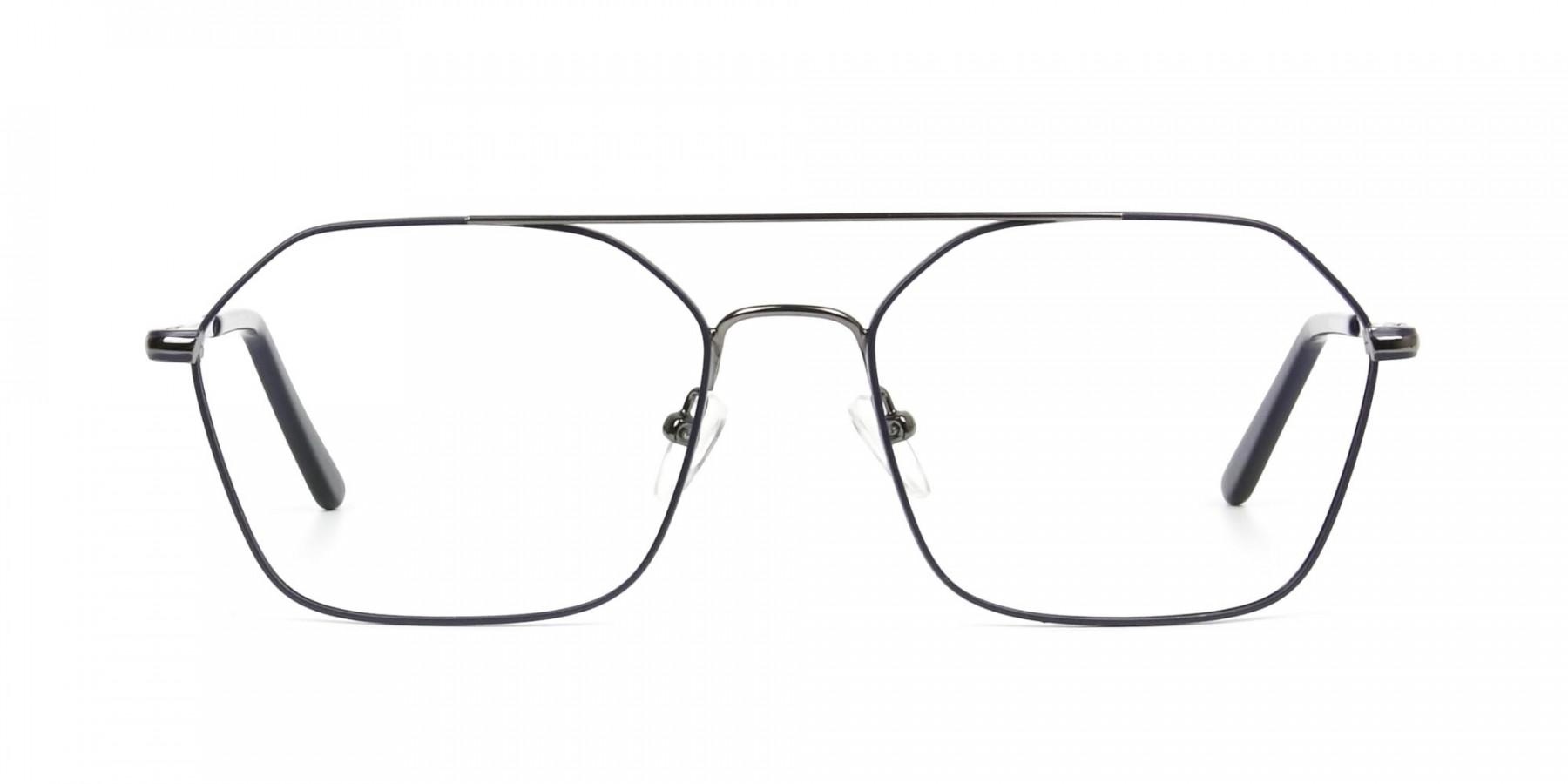 Geometric Aviator Dark Grey Gunmetal Spectacles - 1