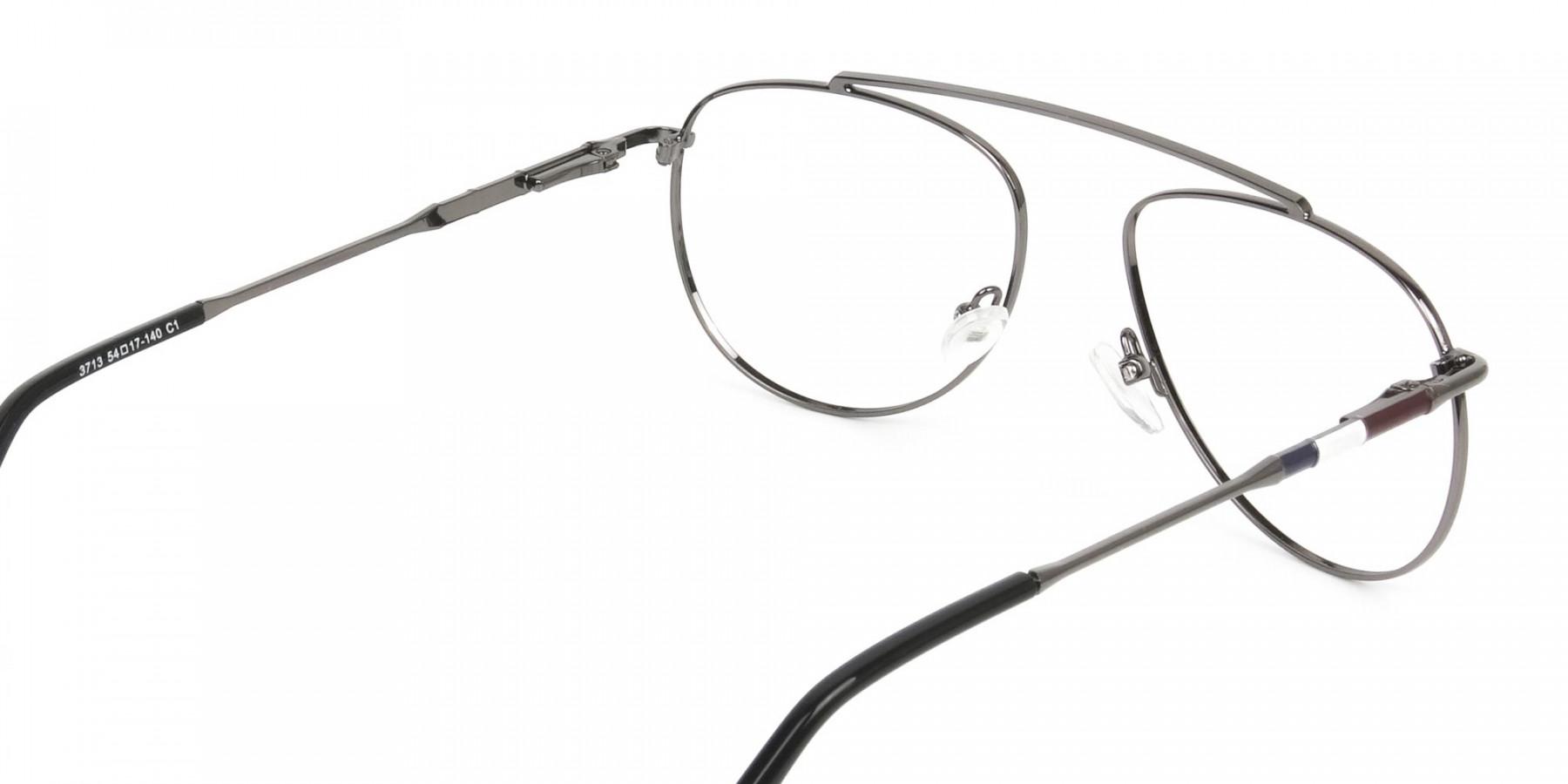 Silver & Dark Navy Thin Metal Aviator Frame Glasses - 1