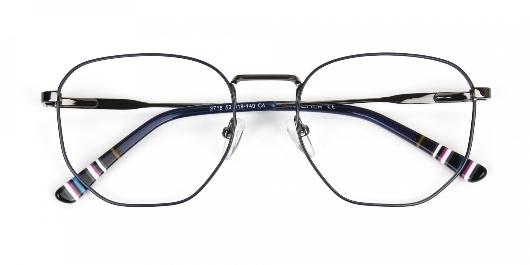Geometric Blue Gunmetal Spectacles - 1