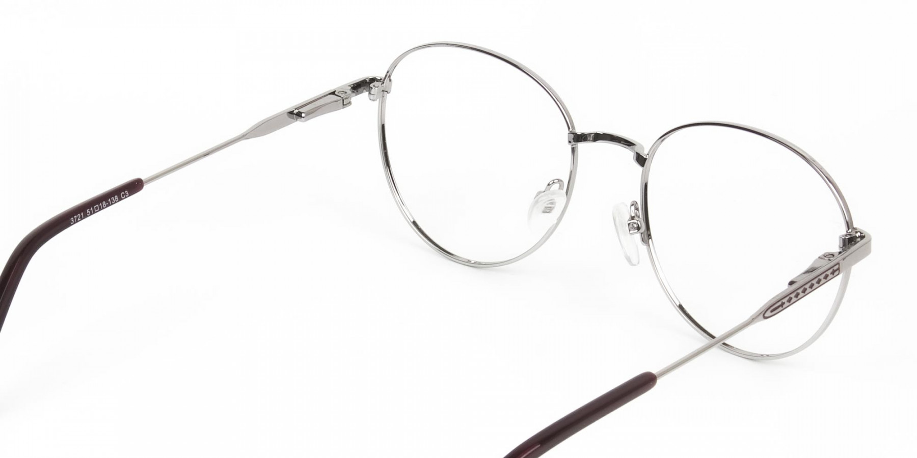 Metal Weightless Round Glasses Burgundy and Silver- 1