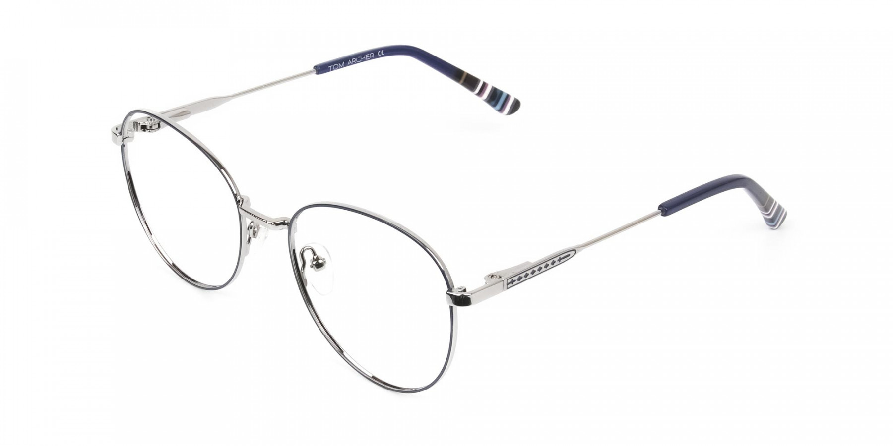 Navy Blue Silver Weightless Metal Round Glasses - 1
