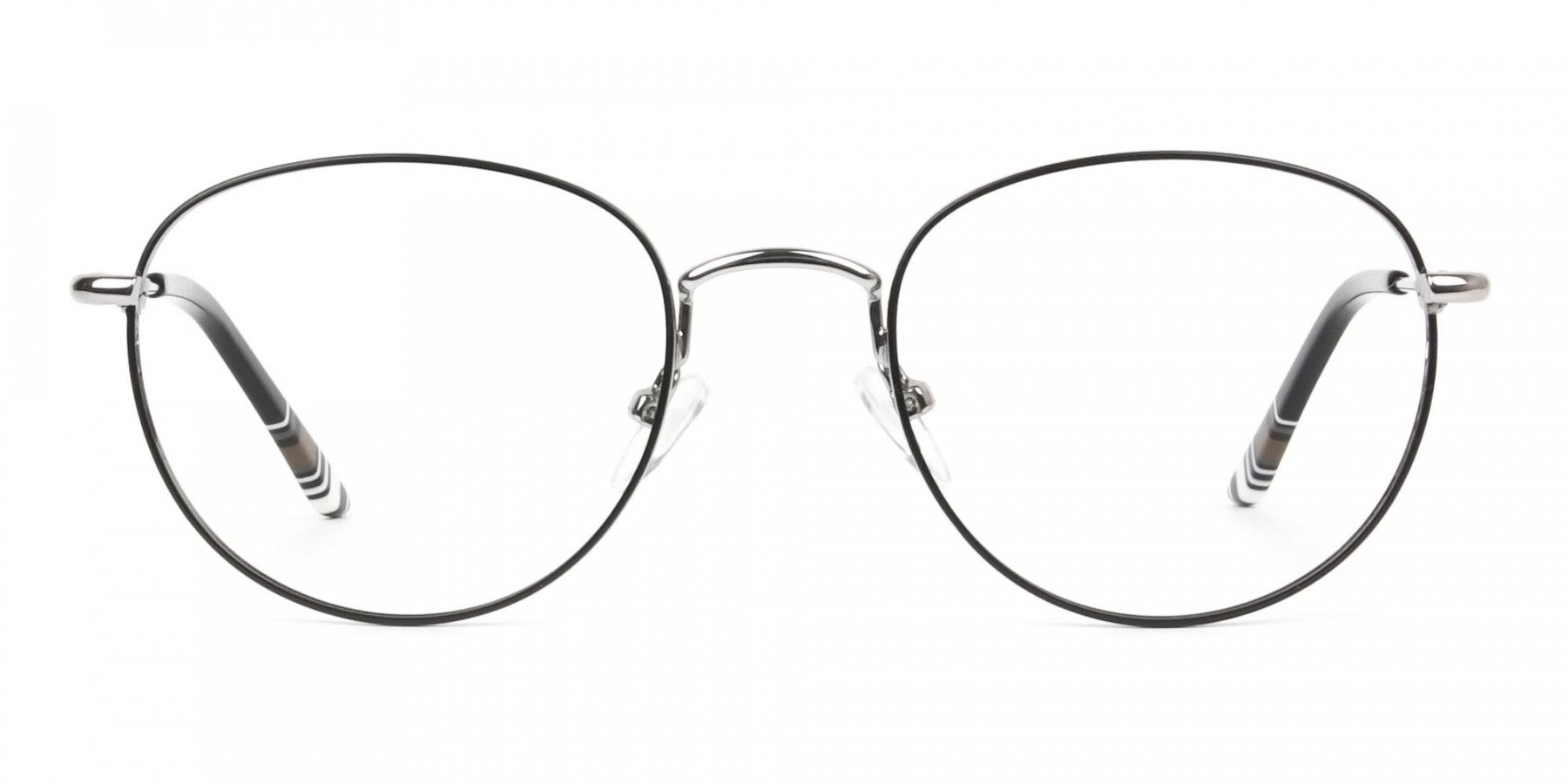 Lightweight Black & Silver Round Spectacles  - 1