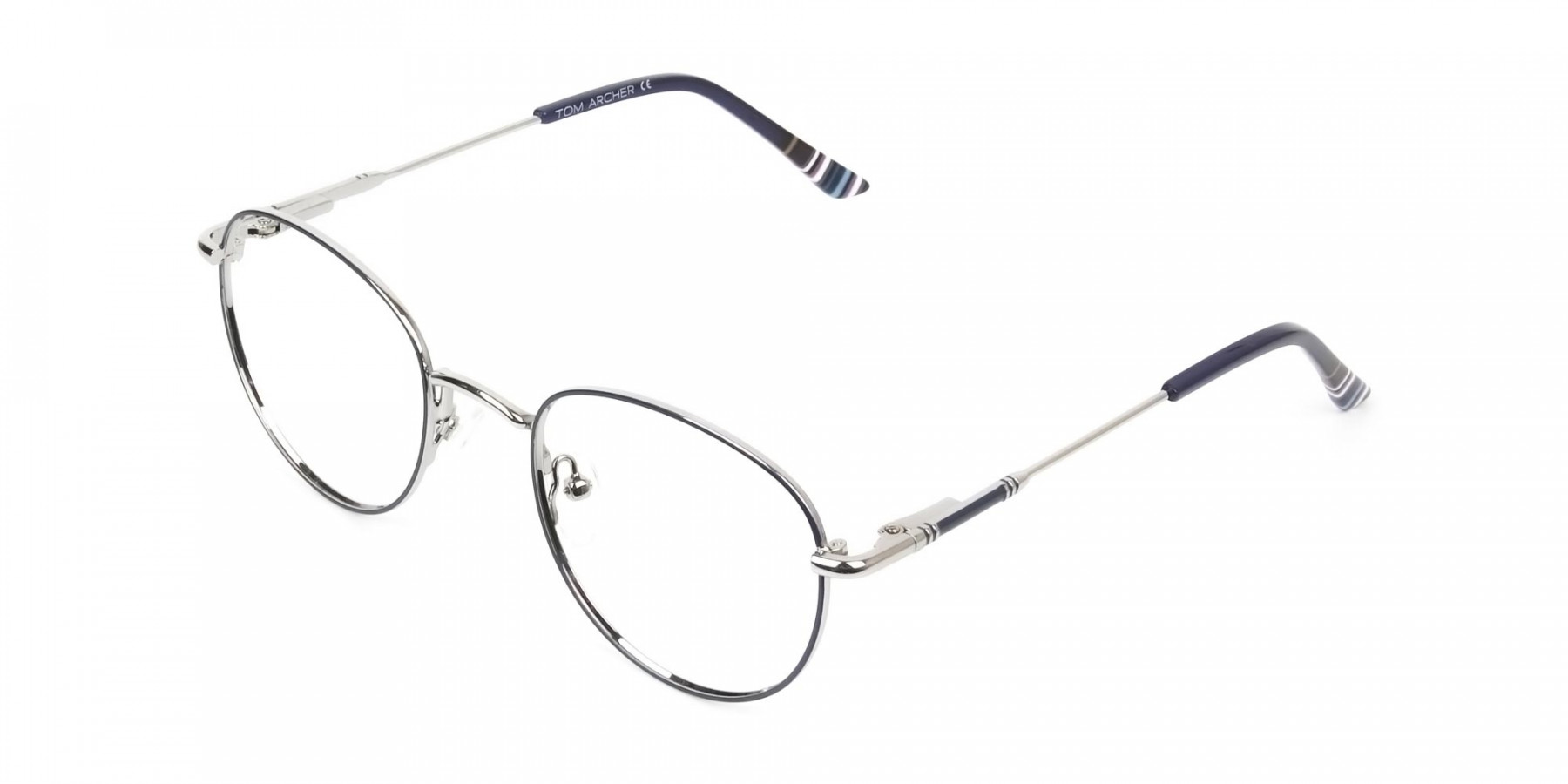 Lightweight Silver & Royal Blue Round Spectacles - 1