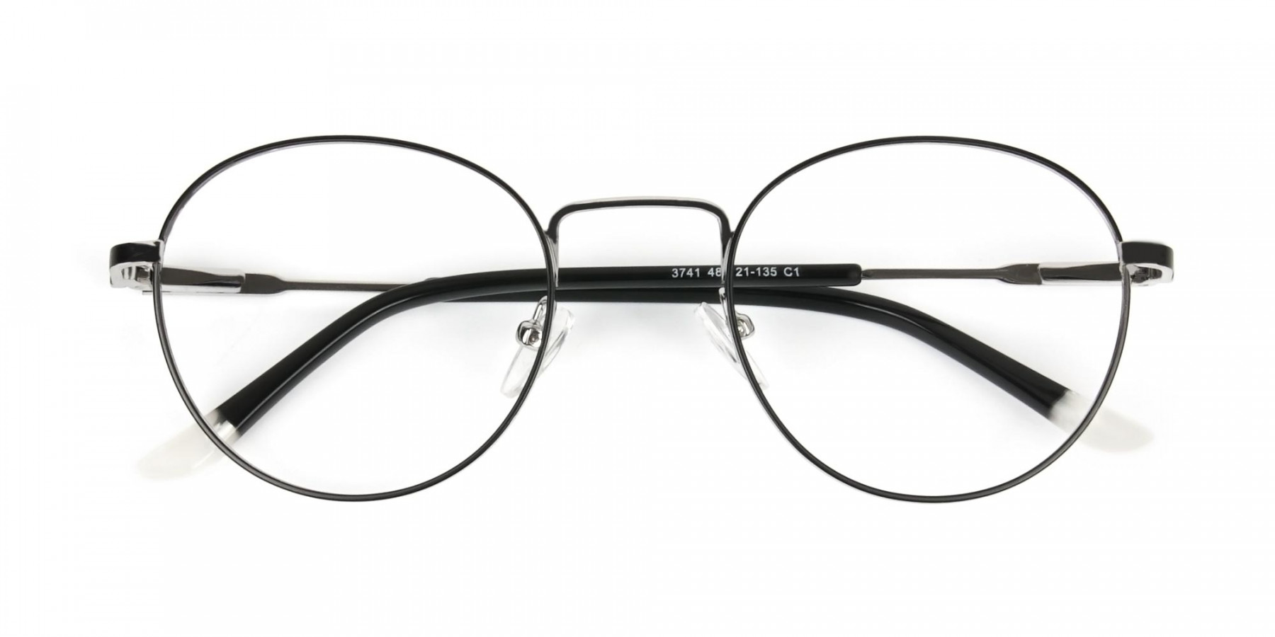Black & Silver Round Spectacles - 1