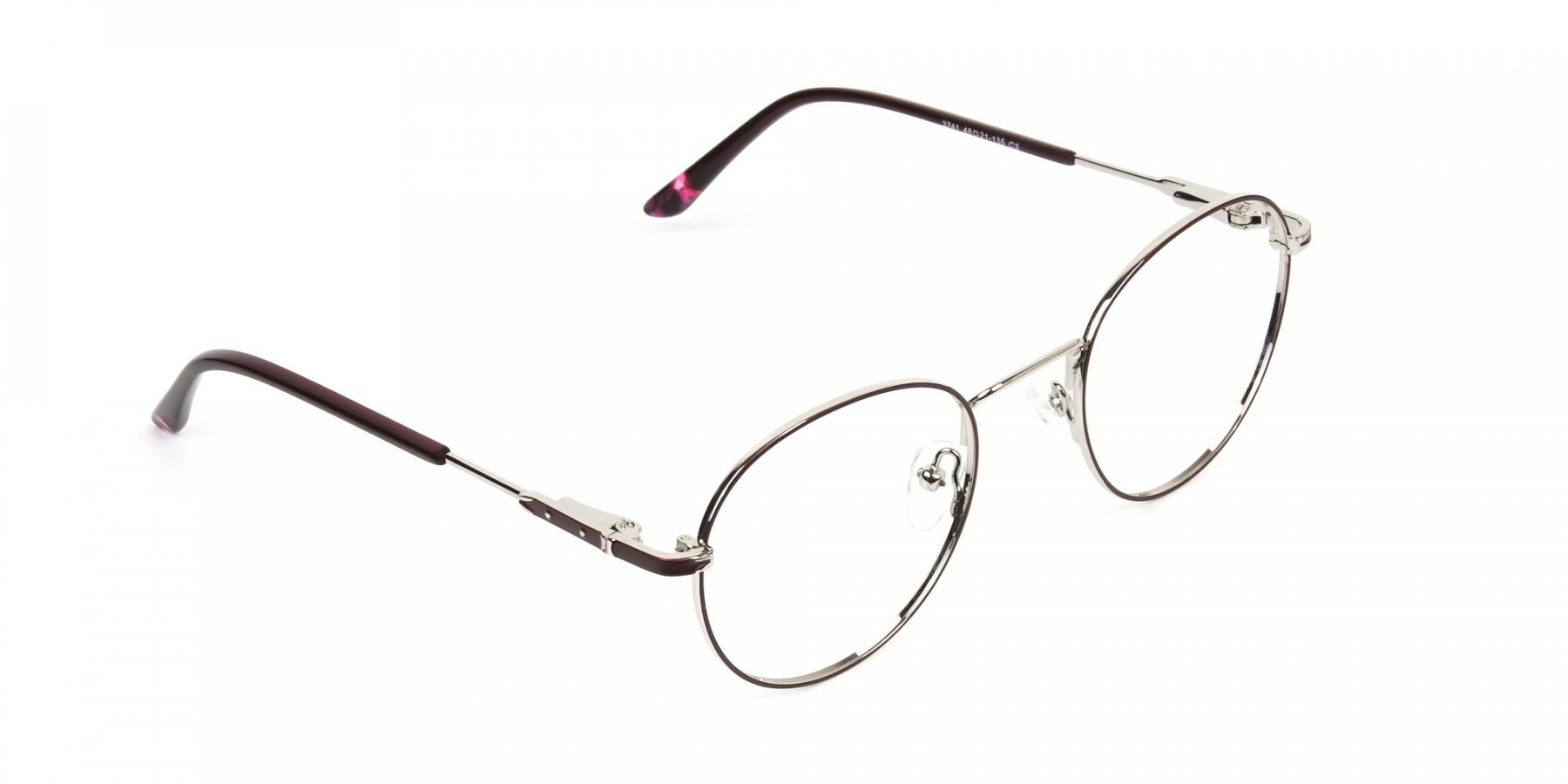 Silver, Burgundy & Purple Round Spectacles - 1