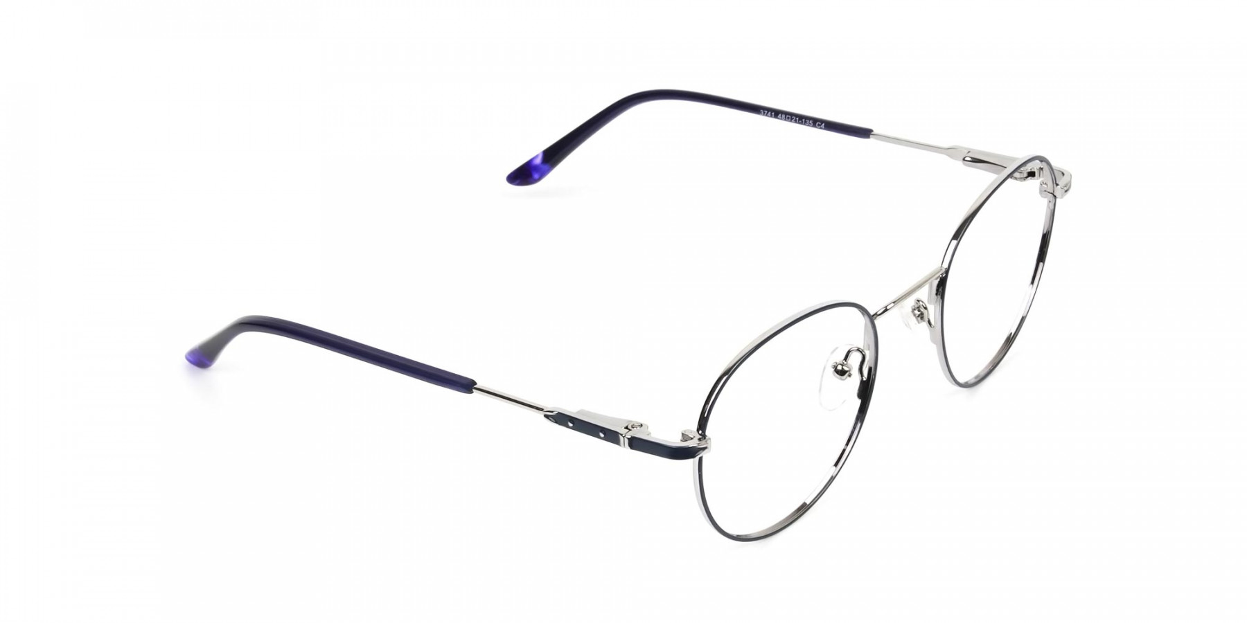 Royal Blue Silver Round Spectacles - 1