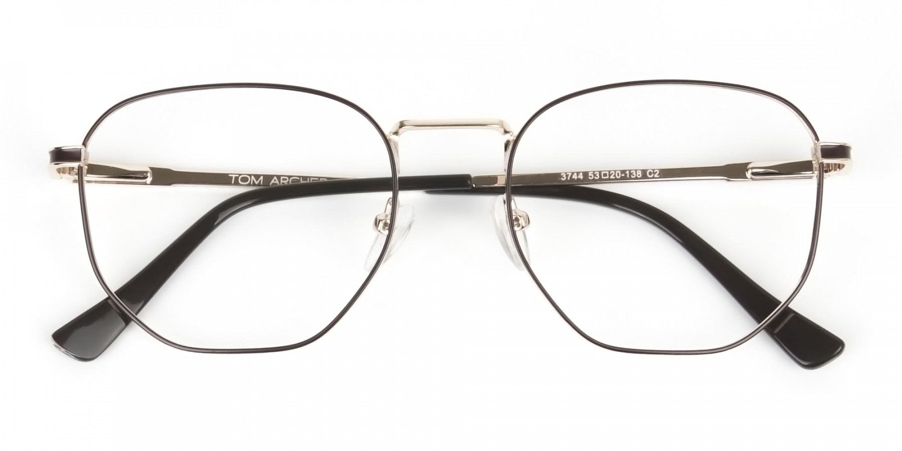 Lightweight Gold and Brown Geometric Glasses - 1