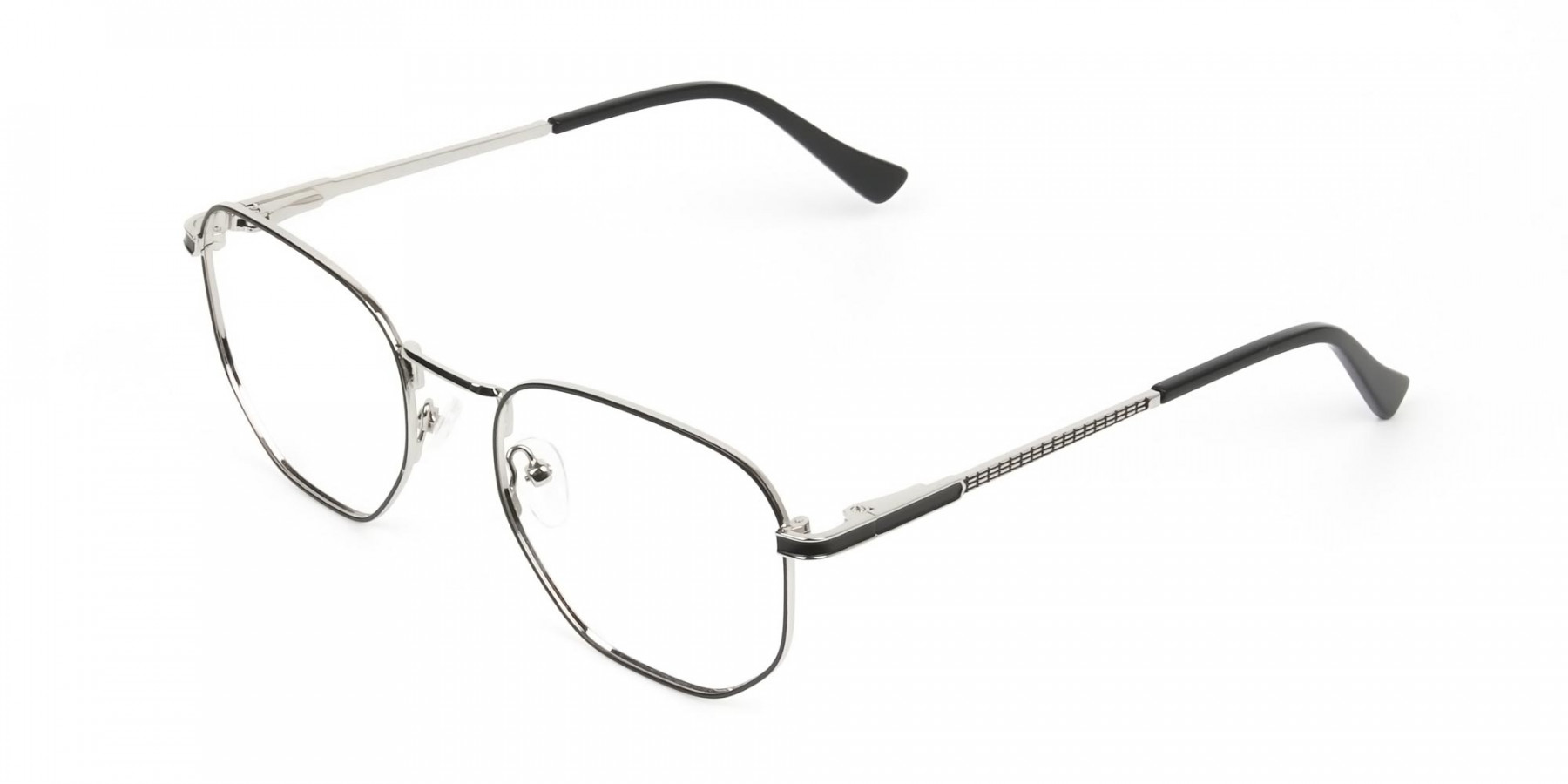 Lightweight Black & Silver Geometric Glasses - 1