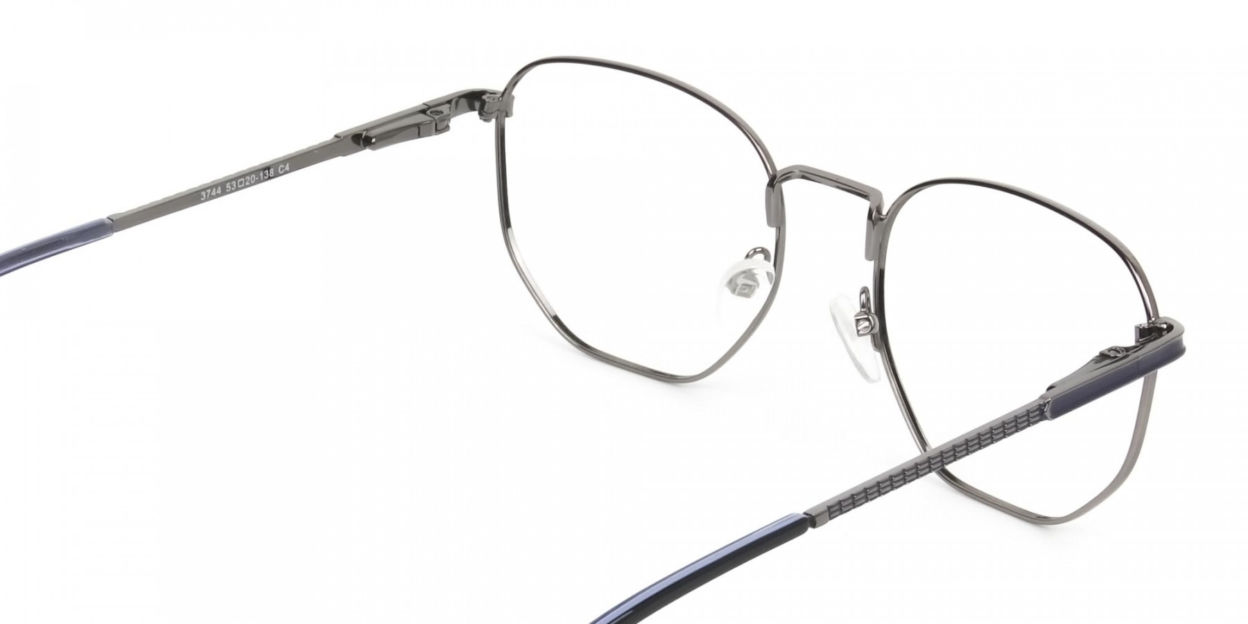 Lightweight Silver & Blue Geometric Glasses - 1
