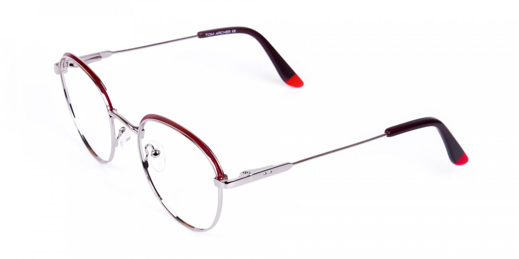 Burgundy-Silver-Round-Aviator-Glasses-1
