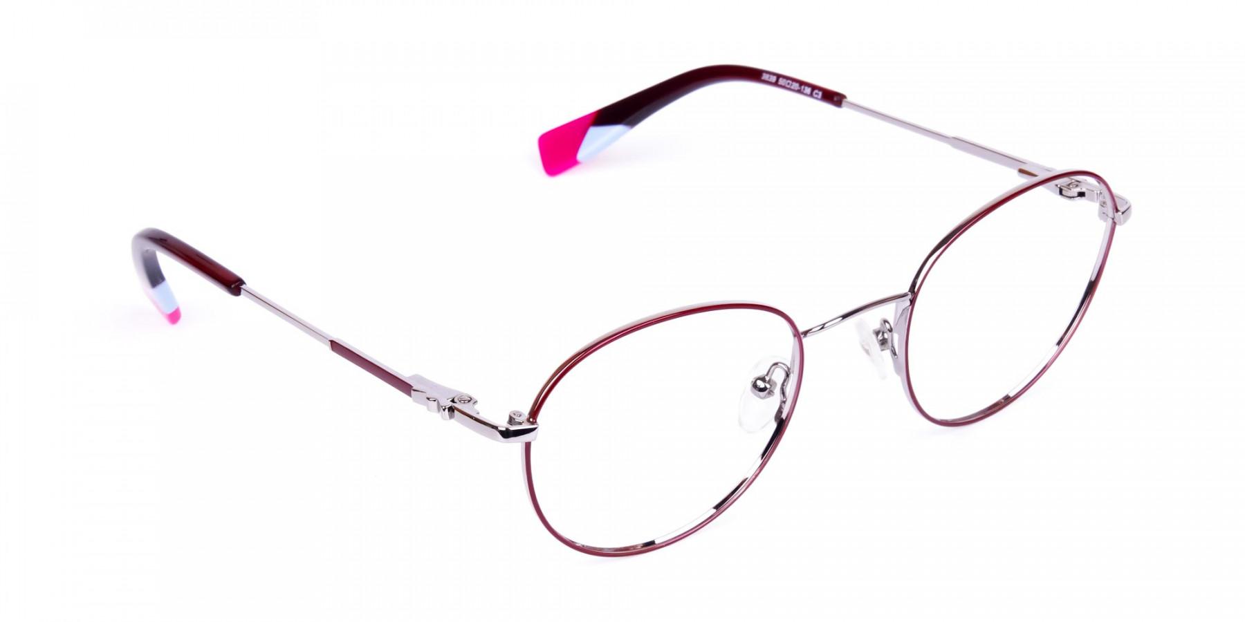 Stylish-Burgundy-and-Silver-Round-Glasses-1